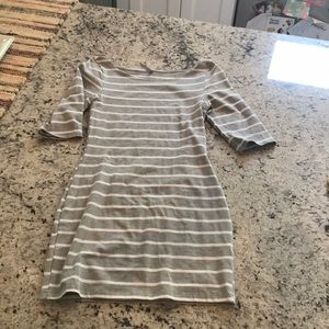 Knit gray and white stripe dress